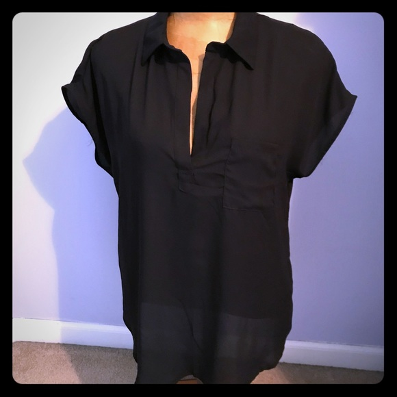 Pleione Tops - NWOT Black Split Neck Collared Top